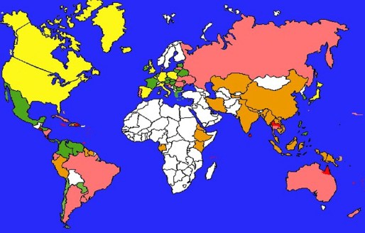 Caseloads worldwide of leptospirosis; Red is associated with the highest case loads.