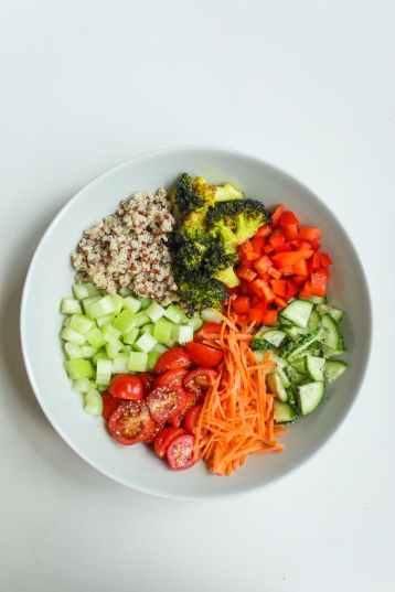 photo of sliced vegetables on ceramic plate