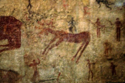 Neolithic Art showing depicting hunters and deer.