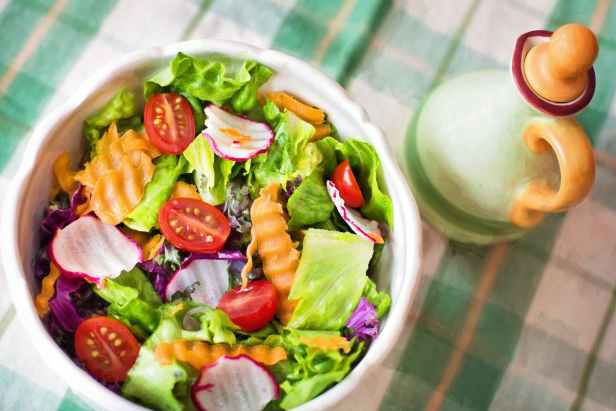 A salad contains much water and fiber.