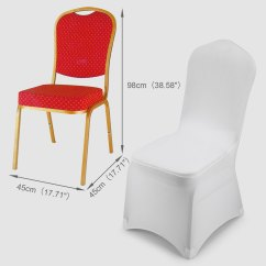 Universal Wedding Chair Covers Snap On High White Polyester Spandex Folding