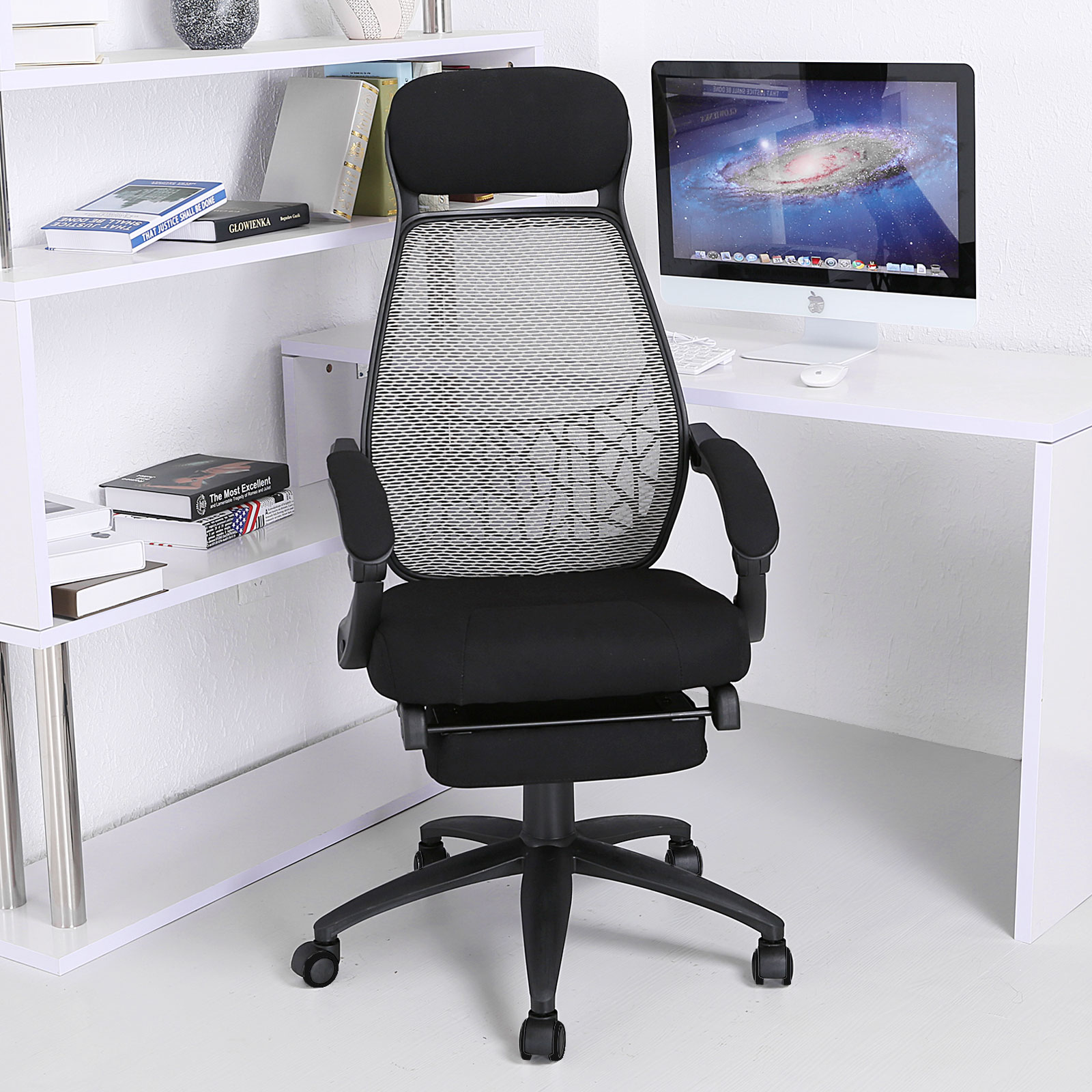 reclining office chair with footrest india black spindle kitchen chairs executive fabric relax mesh high