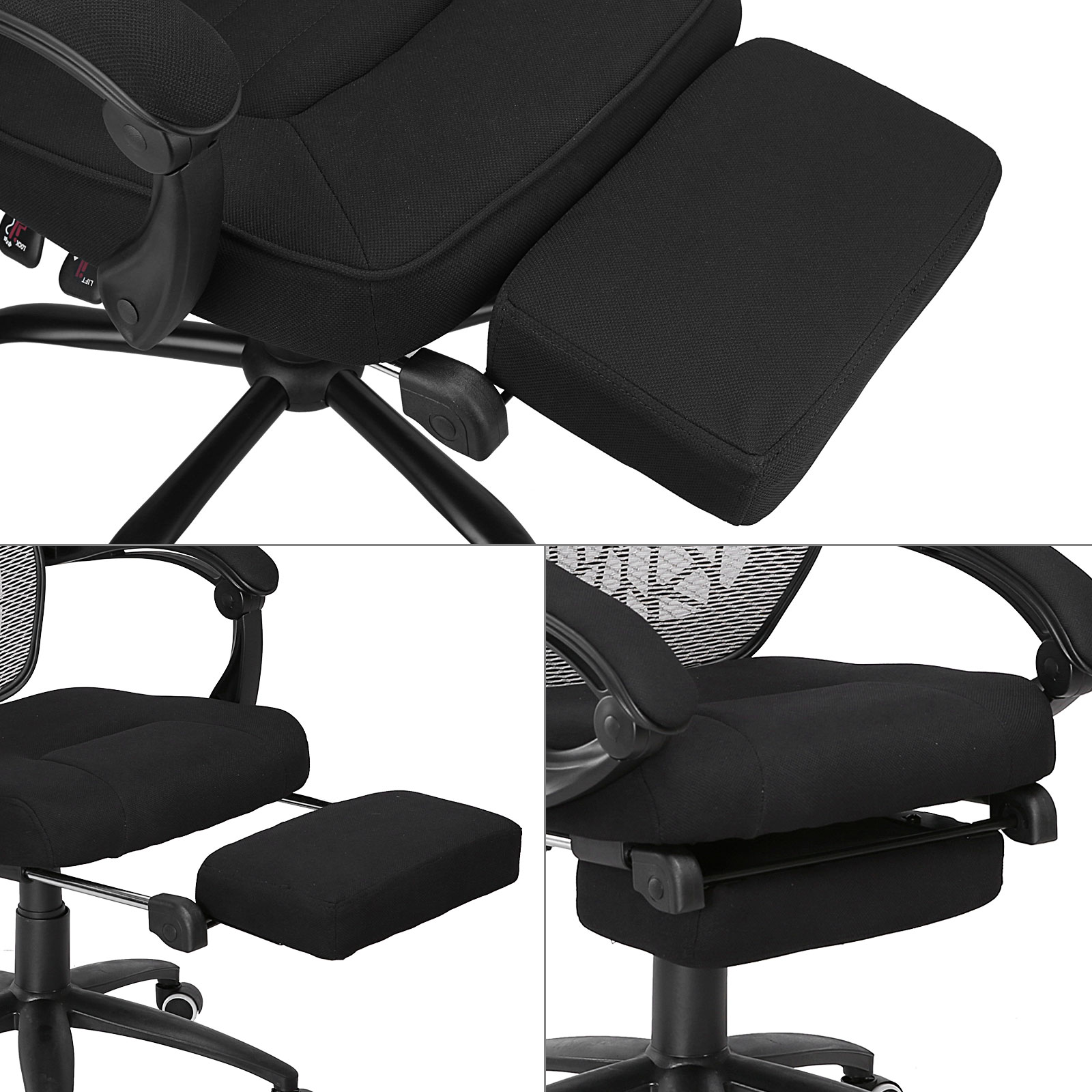 relax your back chair white rail executive reclining office fabric mesh high