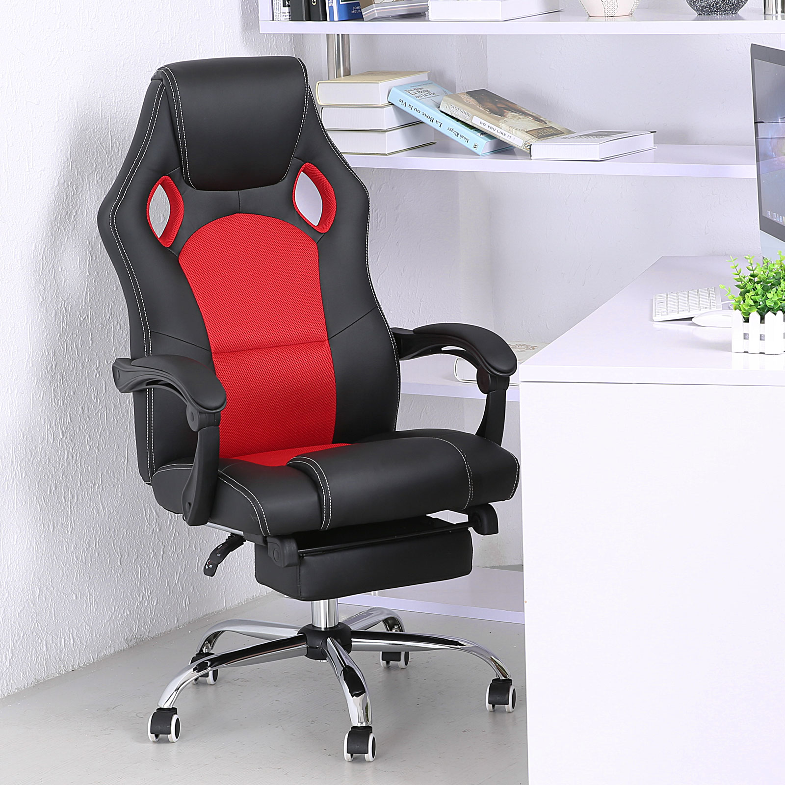 gaming chair with footrest reviews executive office ergonomic high back reclining