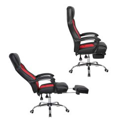 Reclining Office Chair With Footrest Uk Saucer Chairs For Adults Gaming Executive Computer Racing Swivel
