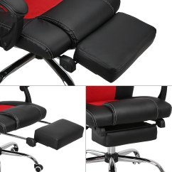 Reclining Office Chair With Footrest Uk Lazy Boy Big And Tall Bjs Racing Recliner Relax Gaming Executive