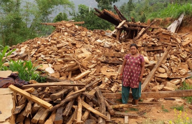 Typical destruction from 2015 in Mankha, Nepal