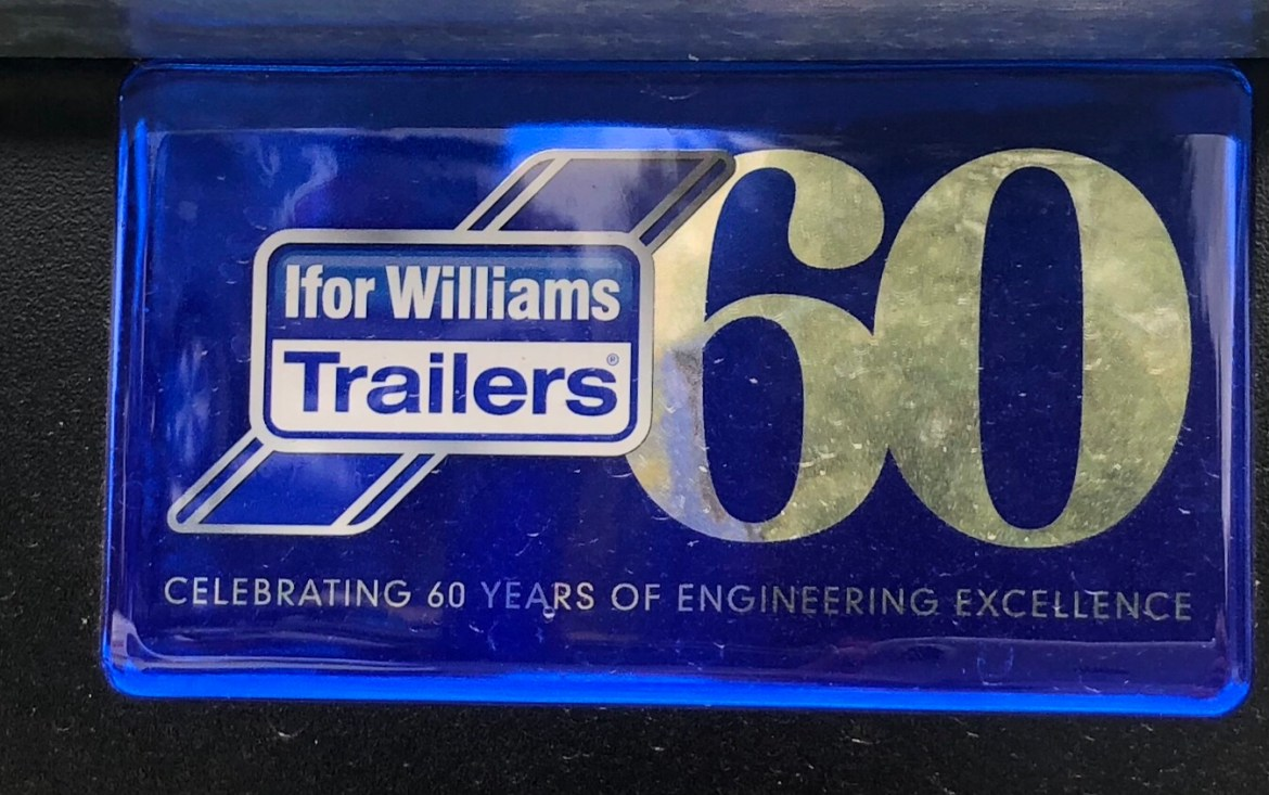 Blue Ifor Williams sticker celebrating 60 years of trailer making
