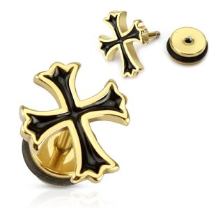 body-jewellery-fake-plug-tribal-cross-shaped-with-black-cz