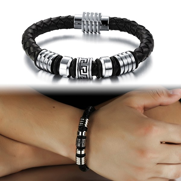 185mm-200mm-215mm-Fashion-Stainless-Steel-Genuine-Leather-Bracelets-Bangles-Men-Jewelry-JewelOra-BA101170
