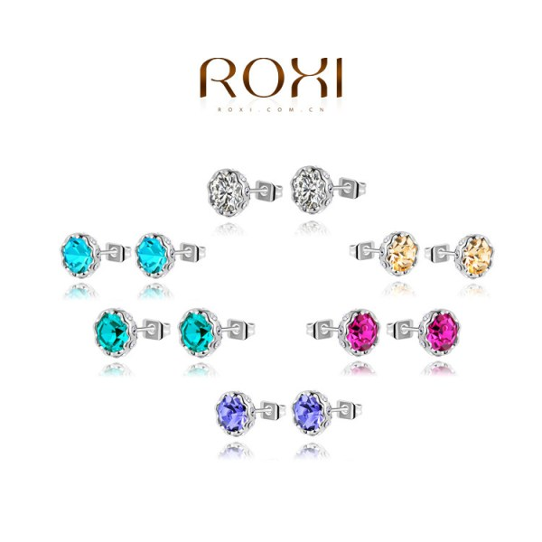 Brand-New-ROXI-Womens-Colorful-Earrings-Rose-Gold-Plated-Genuine-AAA-Class-Austrian-Crystal-Fashion-Stud