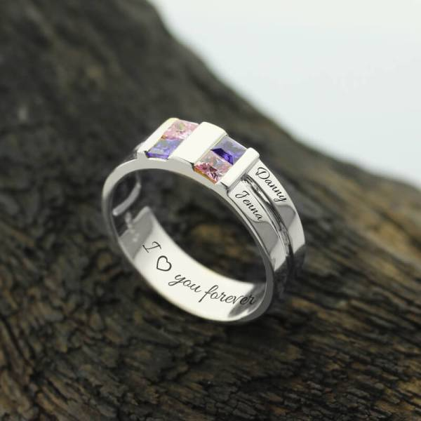 Wholesale-Customized-Men-s-Birthstone-Ring-Silver-Four-Stone-Grooved-Men-s-Ring-Family-Ring-for3