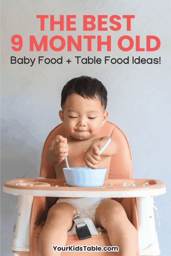 Get simple 9 month old baby food and table food ideas from a pediatric occupational therapist. This is a critical window of time for babies learning to eat. Learn how to maximize it. Includes 14 different 9 month old meal ideas!#9montholdbabyfood #babyfood #tablefood