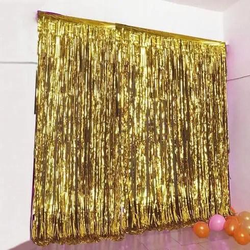 foil curtains gold