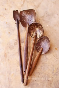 Coconut shell kitchen utensils from Krabi
