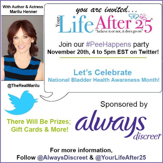 Always Discreet twitter party Marilu Henner