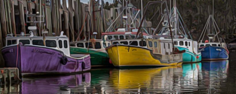 colourful boats 4x10 paint