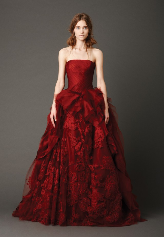 traditional cut red wedidng dress malta
