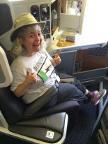 Sharon gives thumbs up to all the legroom!