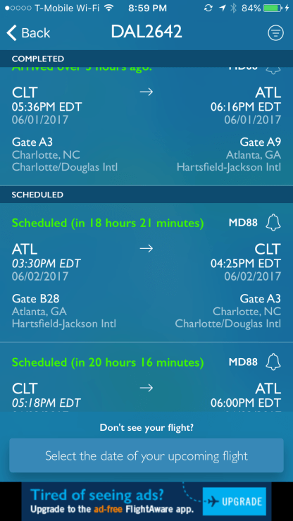 Here's a list of the flights