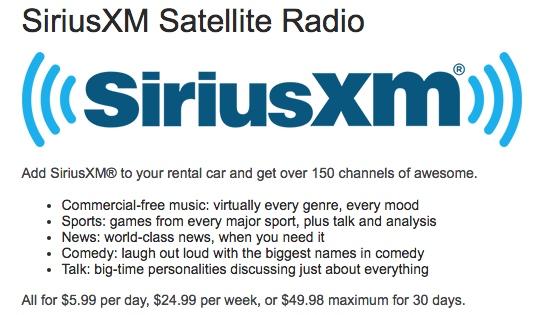 xm radio channels