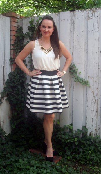 Black and white striped wonder skirt