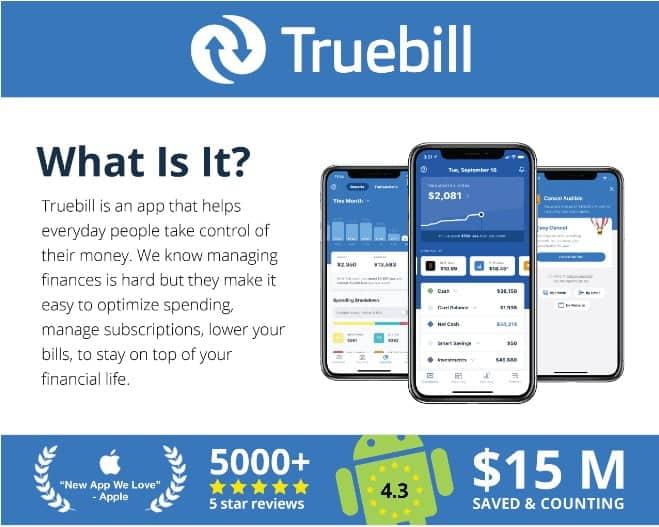 Truebill app screenshot