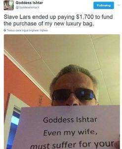 lars sent 1700$ to Goddess Ishtar