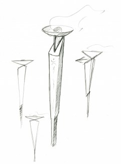 conceptual sketch of the Olympic Torch, donated to the Museu del Disseny archive by the designer André Ricard