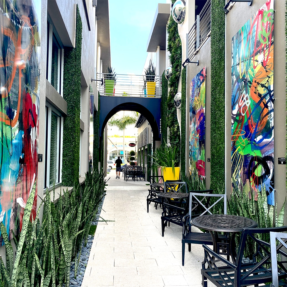 Hallway of art on Fifth Ave S Naples