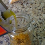 pour the olive oil over the calendula