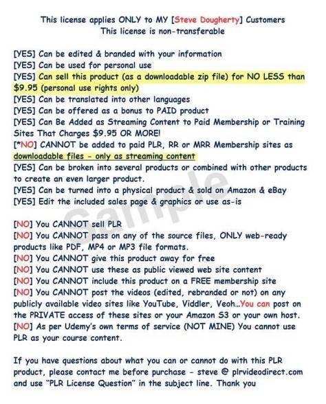 Your PLR Makeover Sample PLR License