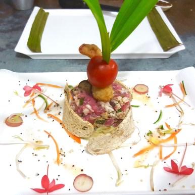 Seafood, barley and avocado Tower