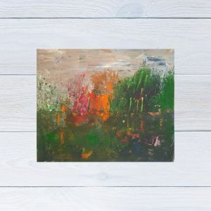 Photo of Abstract Lake Original Painting displayed on a white wooden background