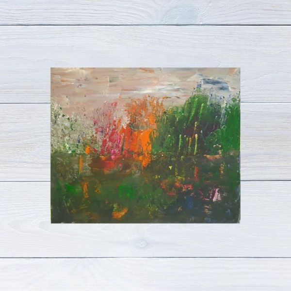Photo of Abstract Lake Painting displayed on a white wooden background. Painting by Yours Faithfully Hannah Kirk