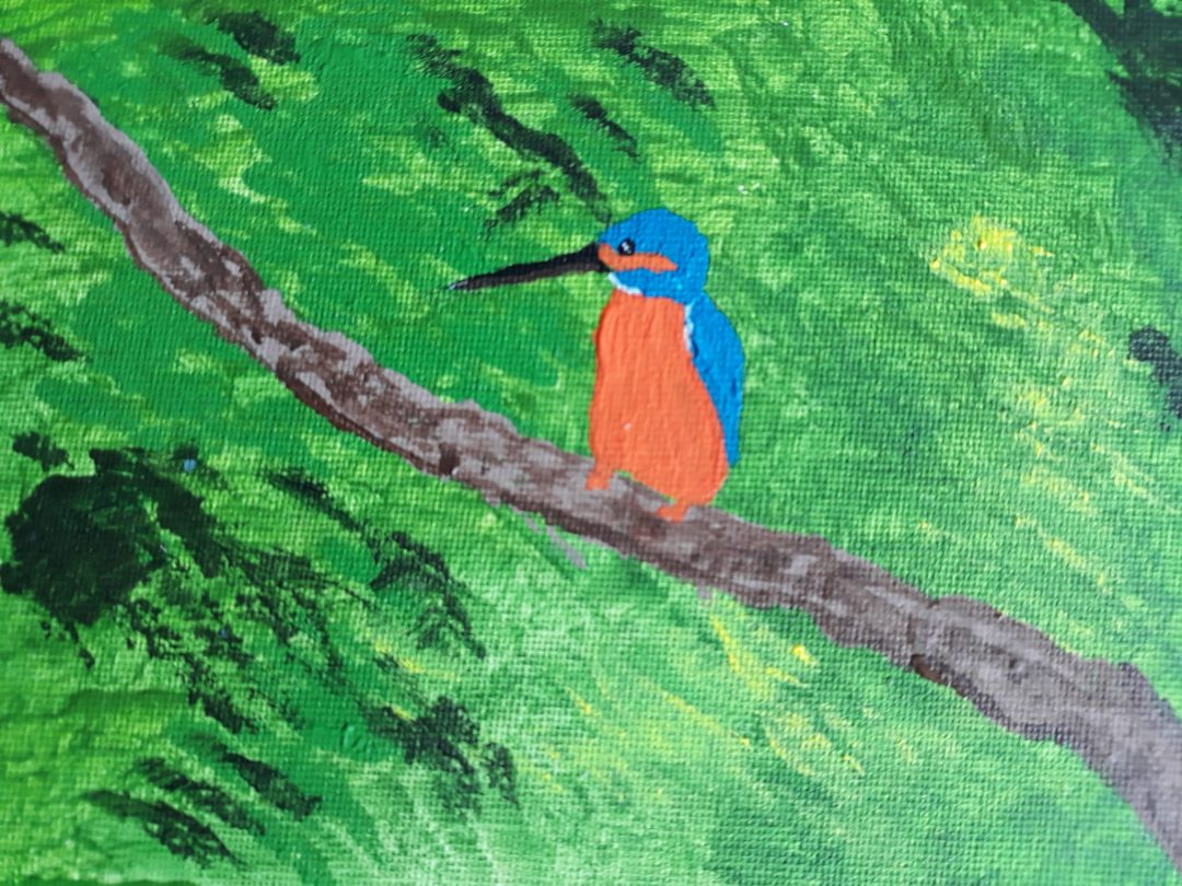 Small Kingfisher painting - painted in acrylics on stretched canvas. I blue and orange Kingfisher on a branch with a bright green background