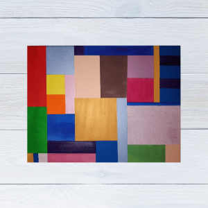Evangelism themed abstract painting with lots of coloured squares and rectangles to indicate a stained glass window