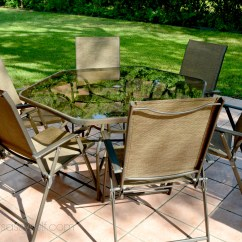 Folding Chair Job Lot World Market Papasan Big Lots Sling Chairs Give New Life To Patio Table