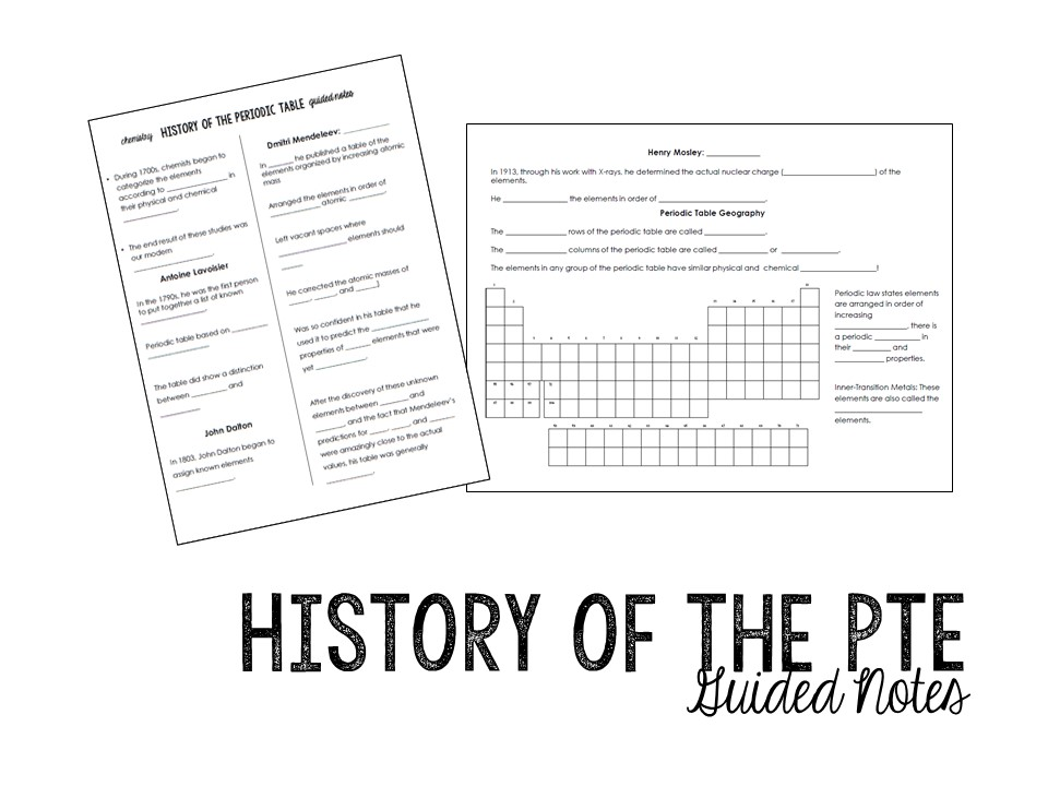 History of the Periodic Table Notes & Homework