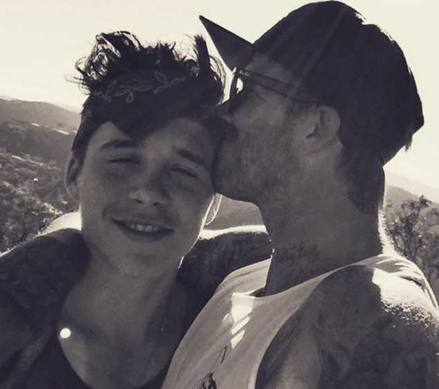 David and Brooklyn Beckham Share Candid Father-Son Affectionate Hug Moment