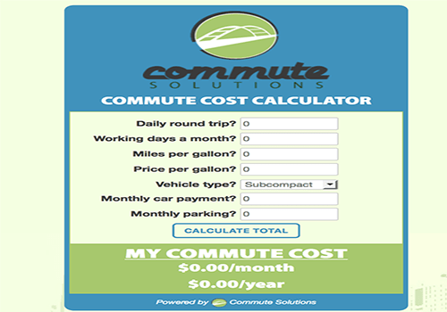 Cost of Commuting Calculator Widget