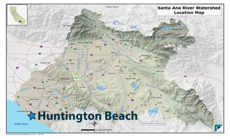 Huntington Beach is where the Santa Ana River meets the Pacific Ocean.