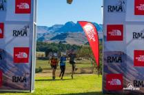 Three runners jump happily as they approach the finish of the 30km day two of the Giant's Cup trail run that took place in the Maloti-Drakensberg World Heritage Site yesterday. Photo: Anthony Grote