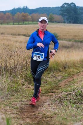Wendy Mills chased race winner Kim Westbrook but was unable to catch her on the 18km Karkloof Classic trail run today. Photo: Anthony Grote