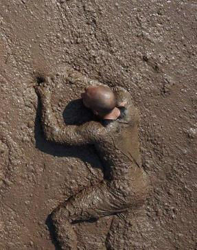 The mud section on the Warrior Race course made it hard to distinguish the participants from the muddy affair.