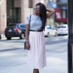 OVERSIZED DENIM JACKET + PINK PLISSE SKIRT