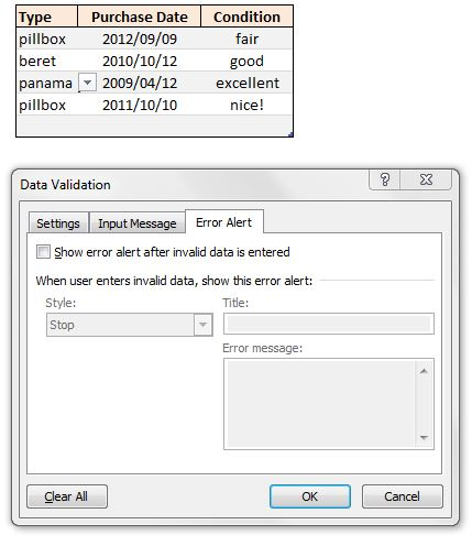 data validation setup