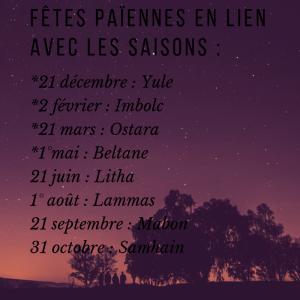 Fêtes païennes en lien avec les saisons _