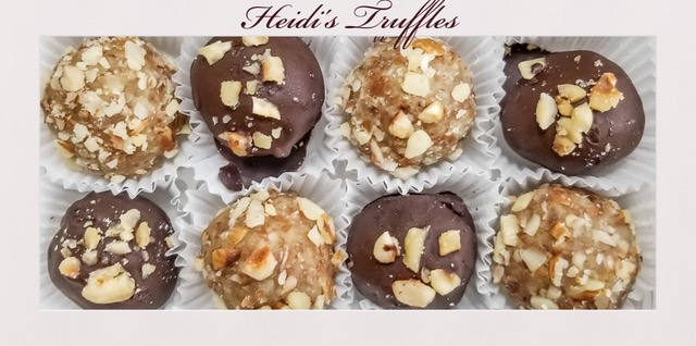 Truffles with nuts nestled in cupcake holders