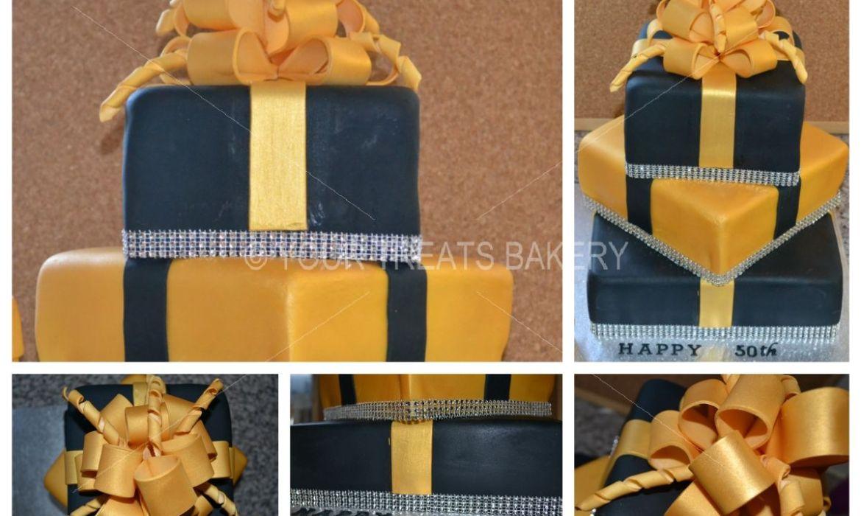 Gold Present Cake